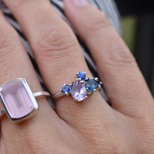 Everly Ring in Sapphire, Rose de France, London Blue Topaz