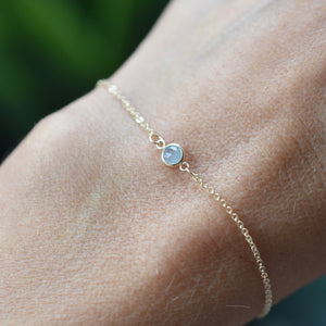 Solitaire Birthstone Bracelet 14k Gold with Milky Aquamarine (March)