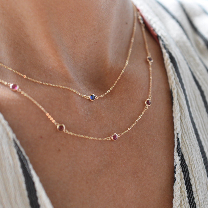 Bayberry Necklace in 14k Gold with Pink Tourmaline (October)