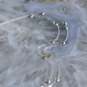 Bayberry Necklace in Silver with Peridot (August)