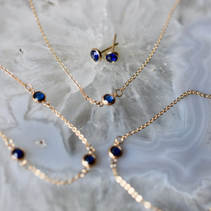 All Sapphire (September) 3 Stone Birthstone Necklace 14k Gold