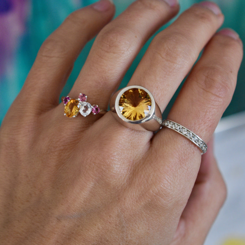 Everly Ring in Tourmaline, Citrine, White Topaz