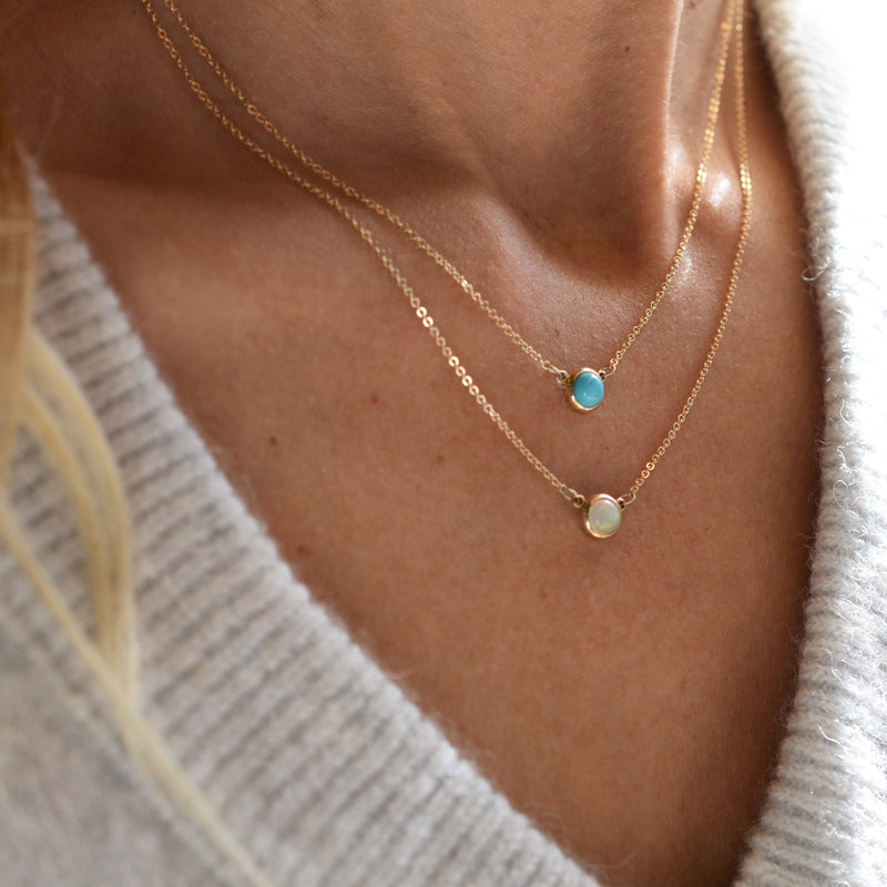 Cabochon Necklace 14k Gold with Turquoise (December)
