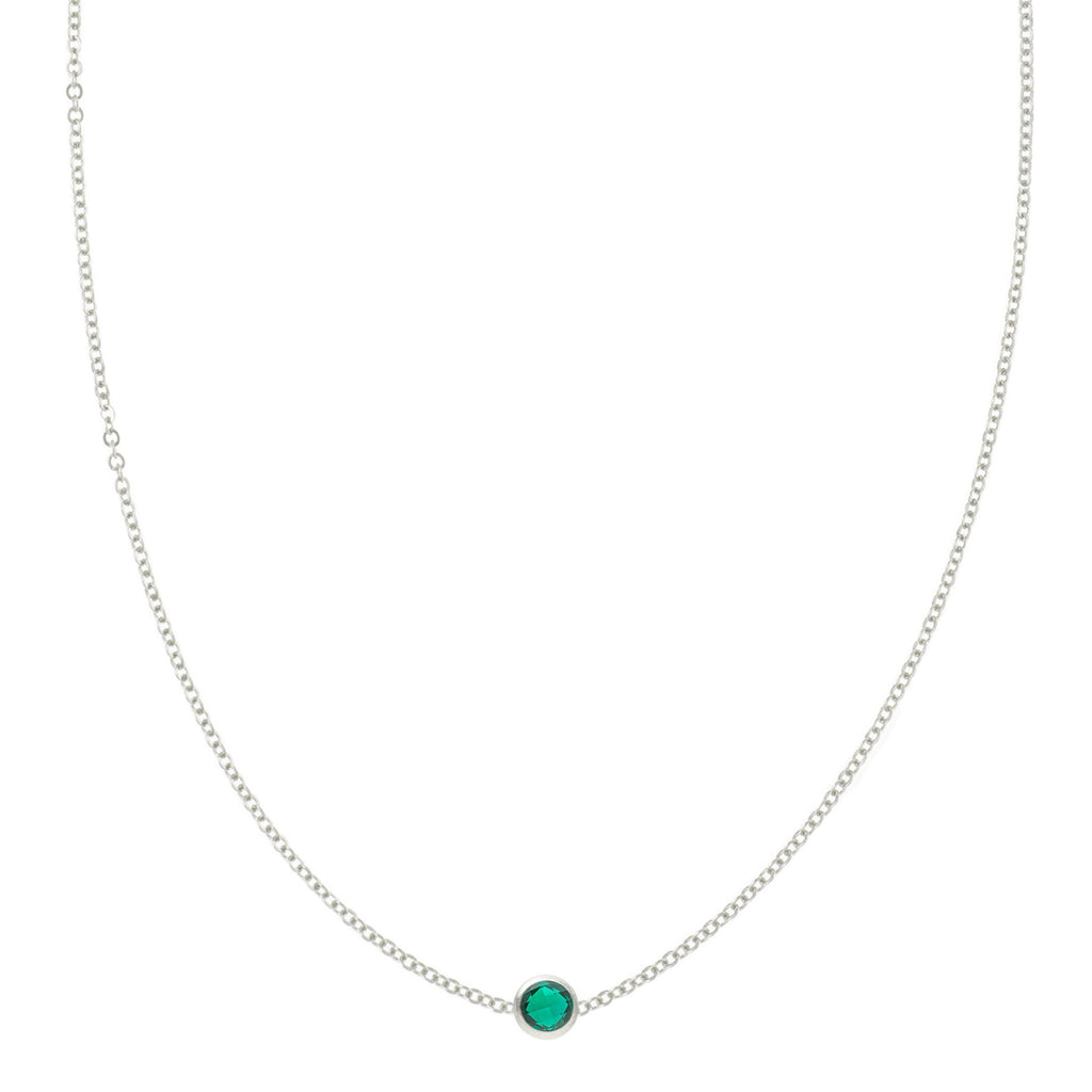 Eve Necklace in Silver with Emerald (May)