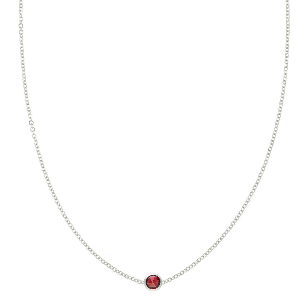 Eve Necklace in Silver with Garnet (January)