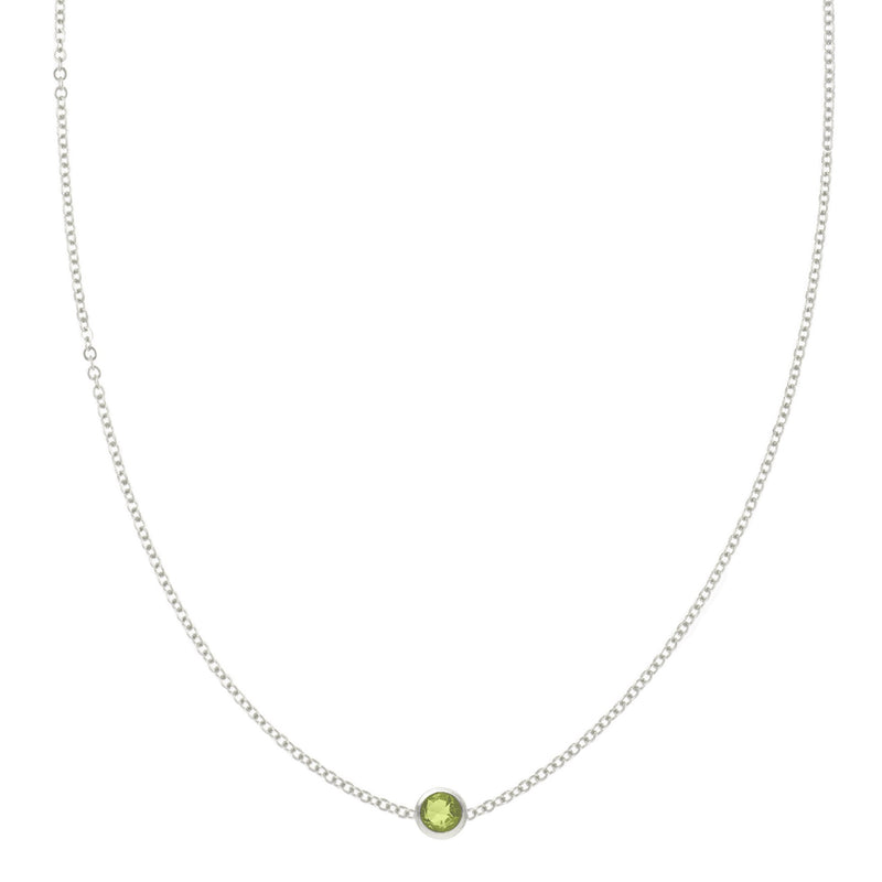 Eve Necklace in Silver with Peridot (August)