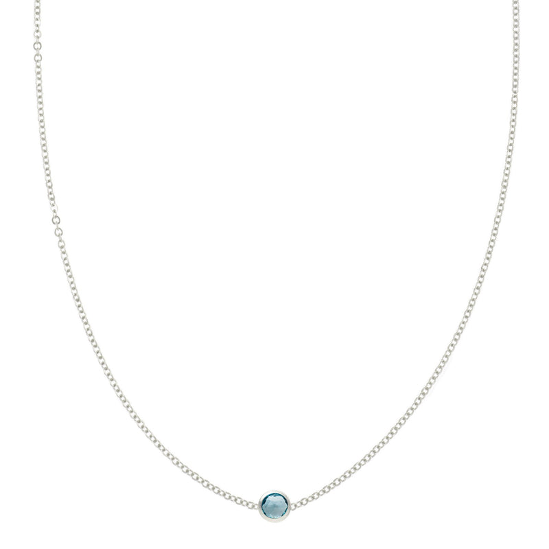 Eve Necklace in Silver with Nantucket Blue Topaz (December)