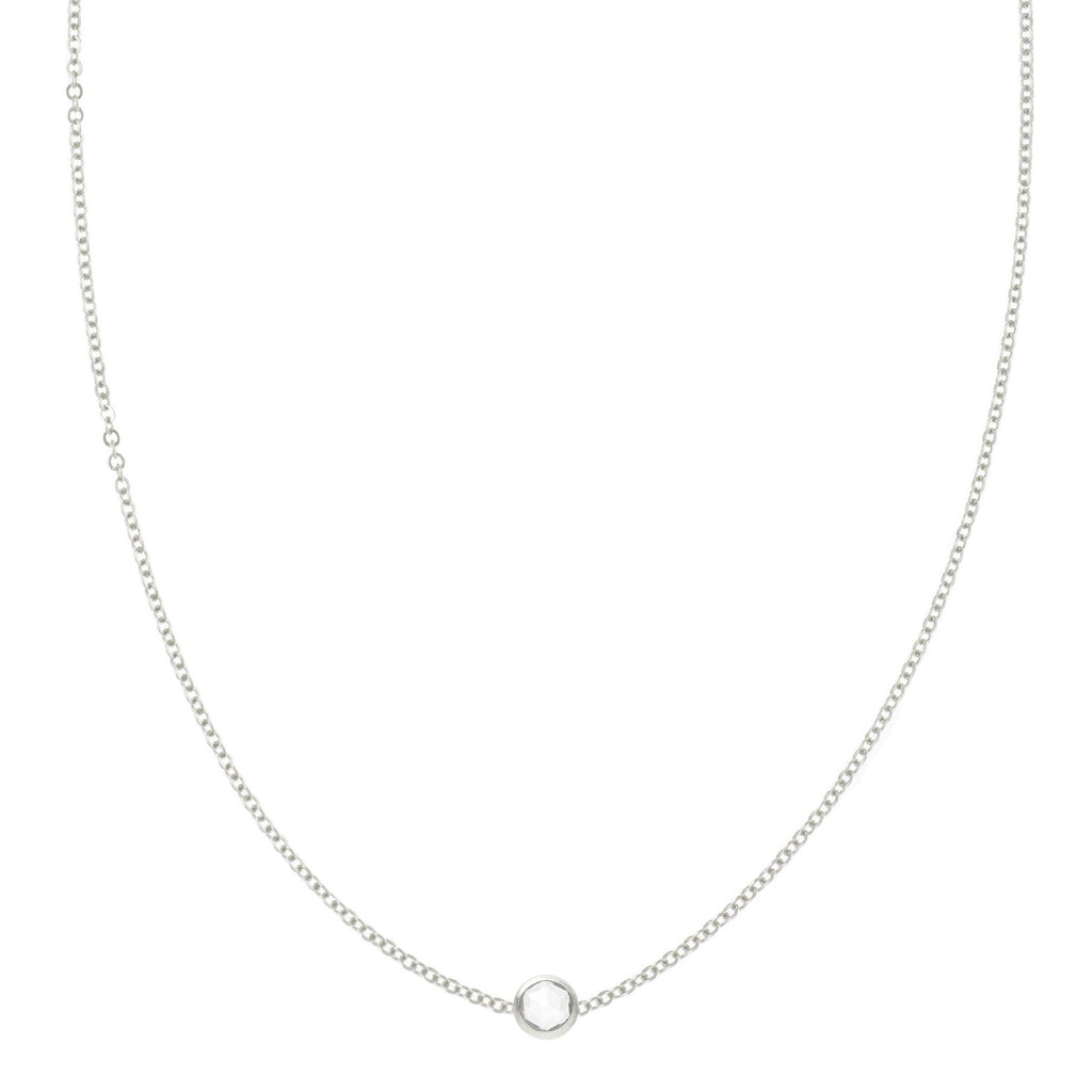 Eve Necklace in Silver with White Topaz (April)