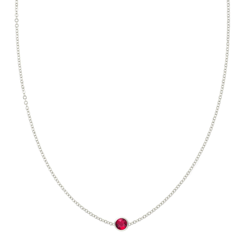 Eve Necklace in Silver with Ruby (July)