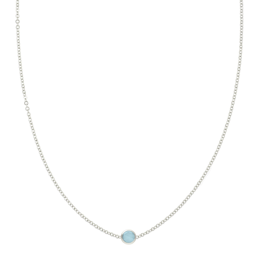 Eve Necklace in Silver with Milky Aquamarine
