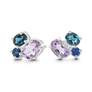 Everly Earrings in Sapphire, Rose de France, London Blue Topaz