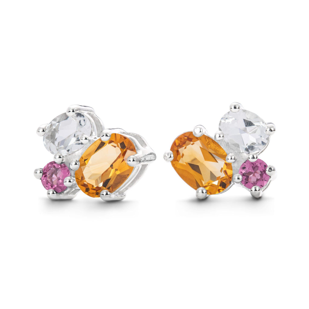 Everly Earrings in Tourmaline, Citrine, White Quartz