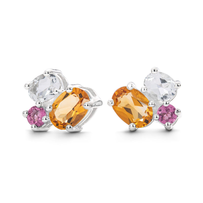 Everly Earrings in Tourmaline, Citrine, White Topaz