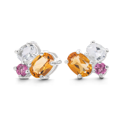 Lang Stud Earrings in Citrine