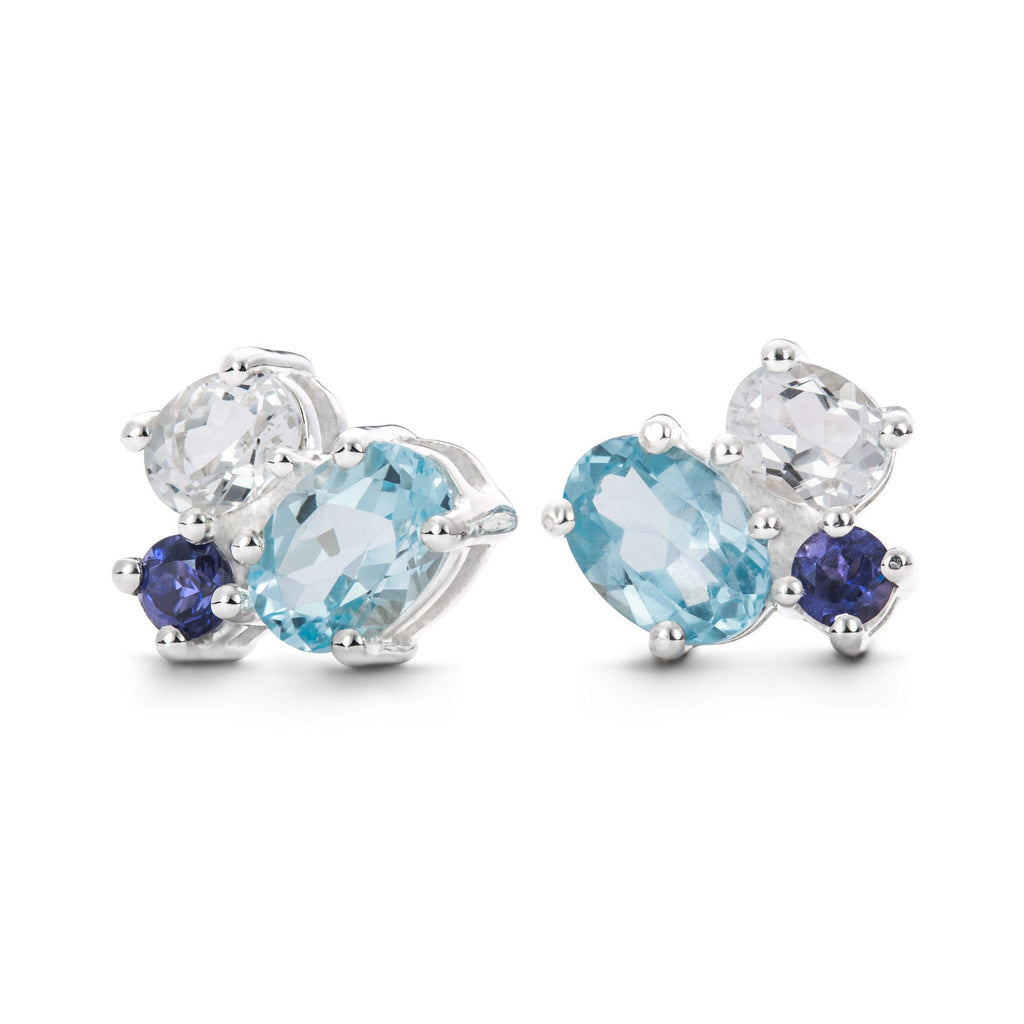 Everly Earrings in Iloite, Sky, White Topaz