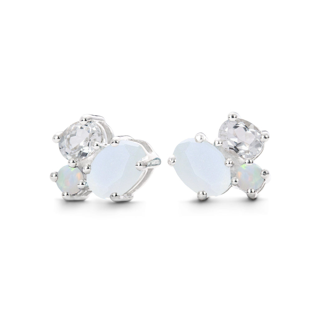 Everly Earrings in Moonstone, White Quartz, Opal