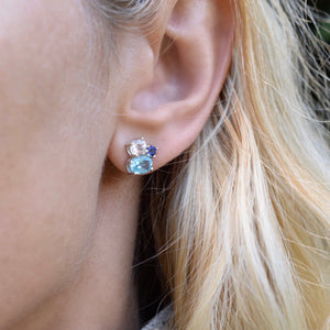 Everly Earrings in Iloite, Nantucket Blue Topaz, White Quartz