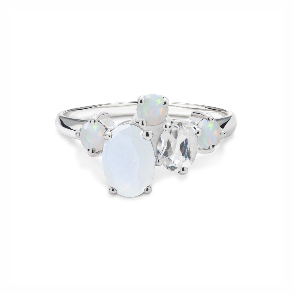 Everly Ring in Moonstone, White Quartz, Opal