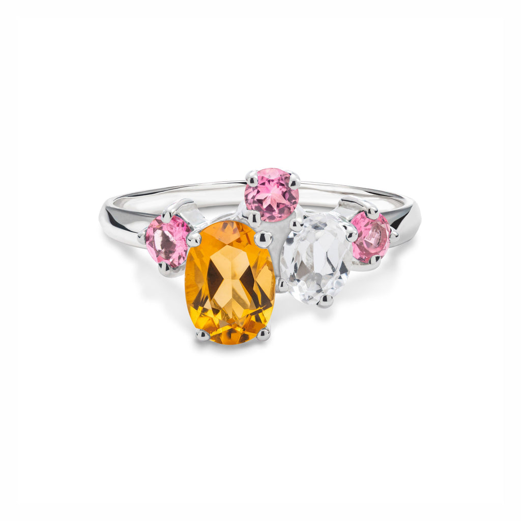 Everly Ring in Tourmaline, Citrine, White Quartz