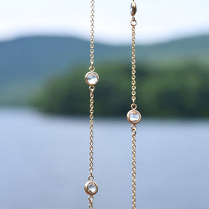 Bayberry Necklace in 14k Gold with White Topaz (April)
