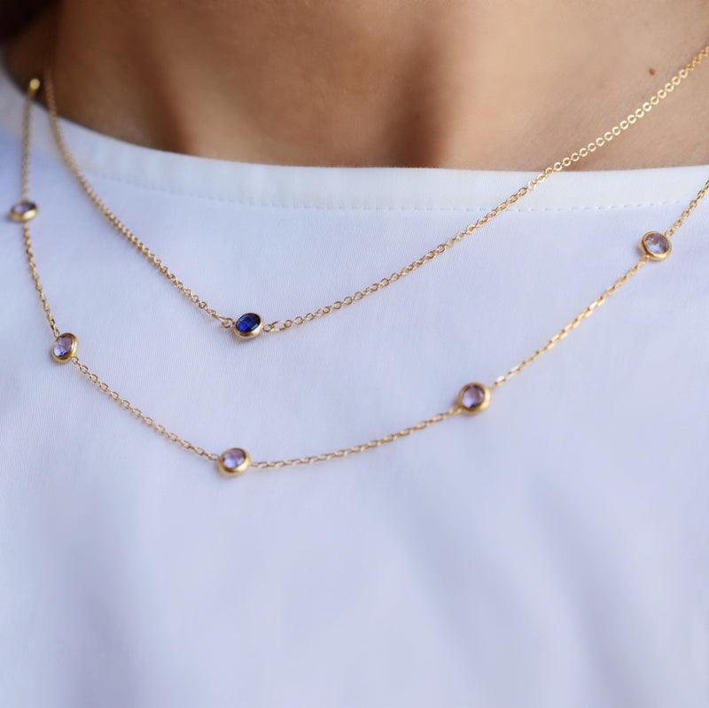 Solitaire Birthstone Necklace 14k Gold with Sapphire (September)