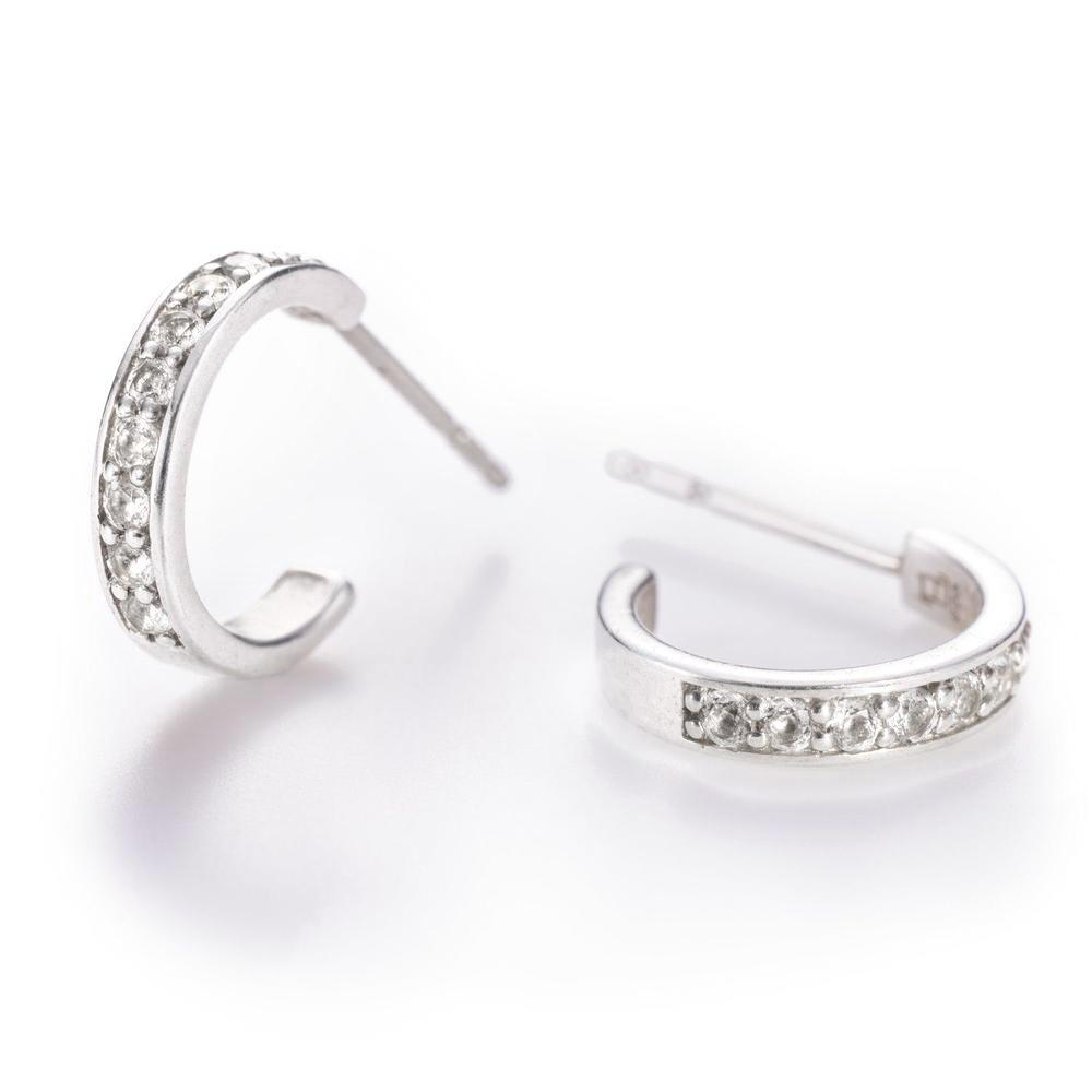 Helena Hoops Earrings with 14k Posts in White Quartz