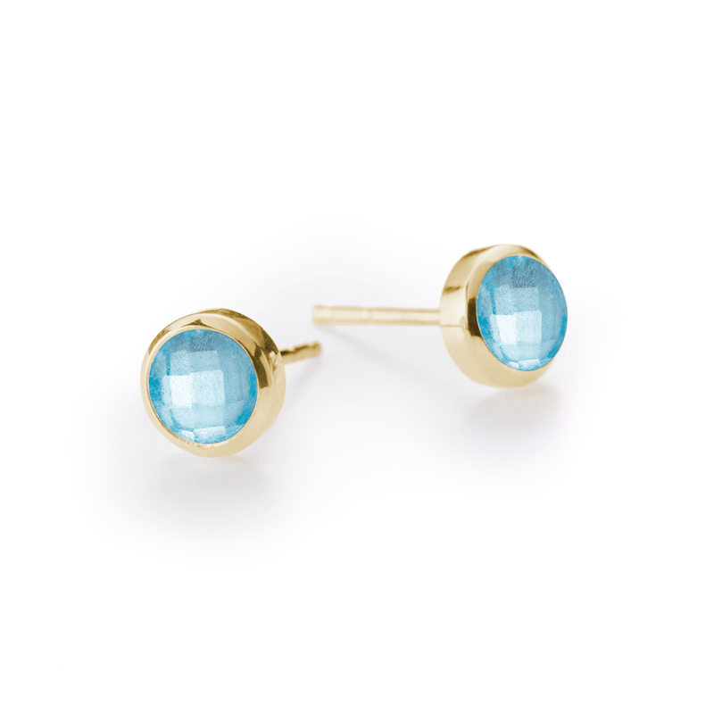 Gigi Earrings in 14K Gold in Nantucket Blue Topaz