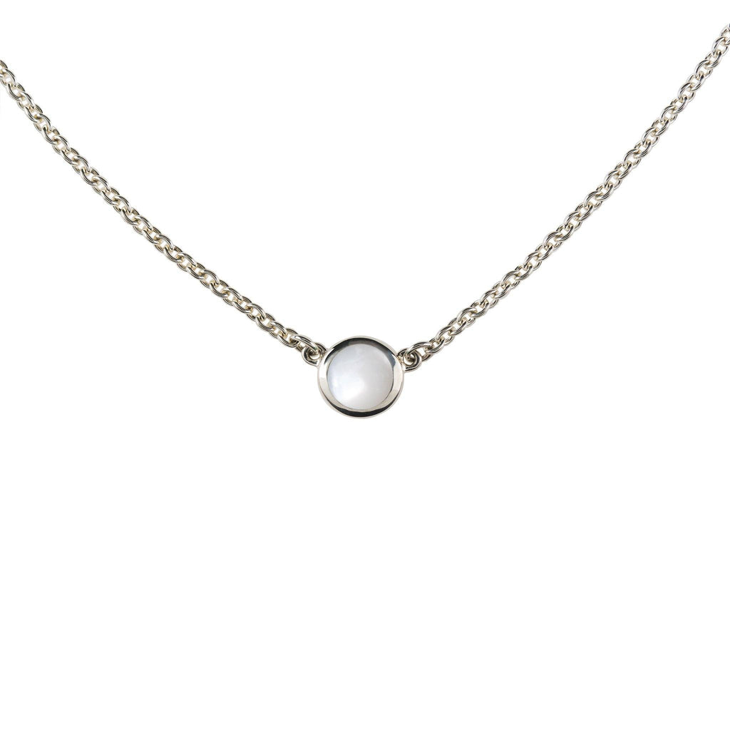 Cabochon Solitaire Necklace Silver with Mother of Pearl (June)