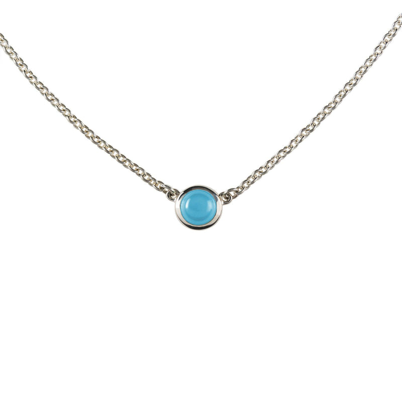 Cabochon Solitaire Necklace Silver with Turquoise (December)