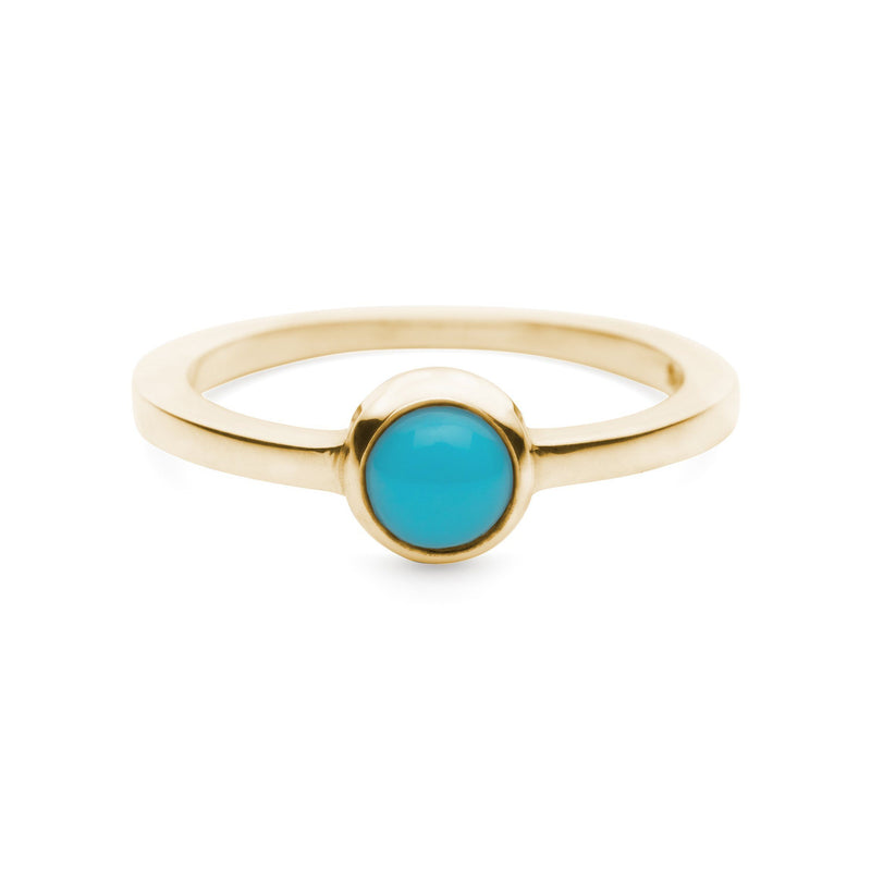 Cabochon Ring 14k Gold with Turquoise (December)
