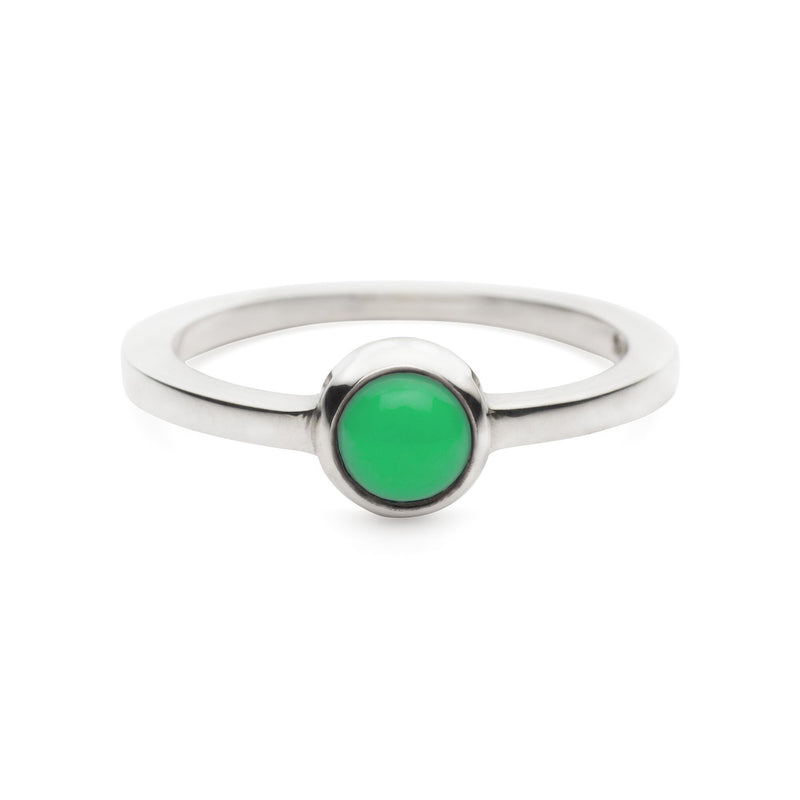 Cabochon Ring Silver with Mint Chrysoprase