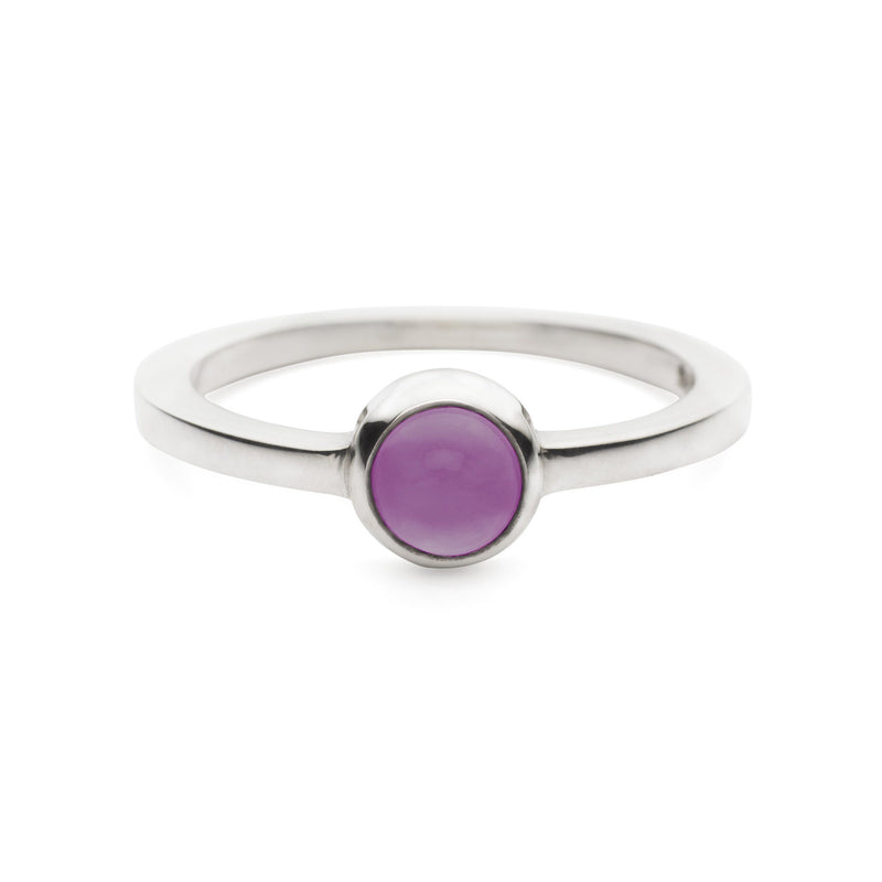 Cabochon Ring Silver with Amethyst