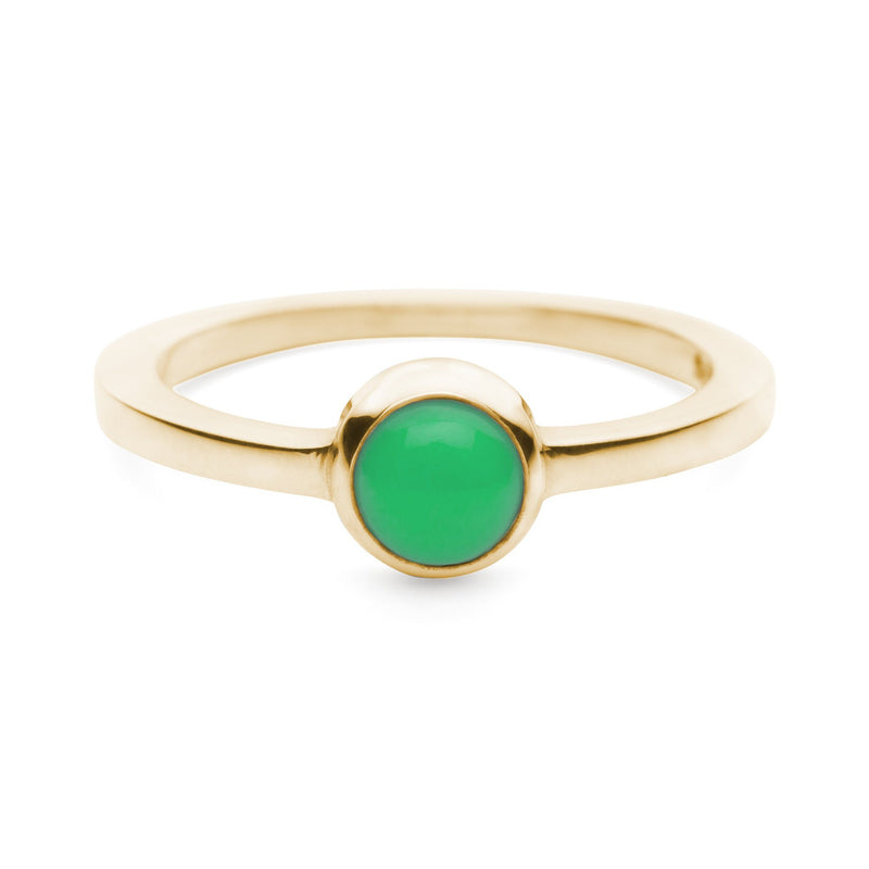 Cabochon Ring 14k Gold with Mint Chrysoprase