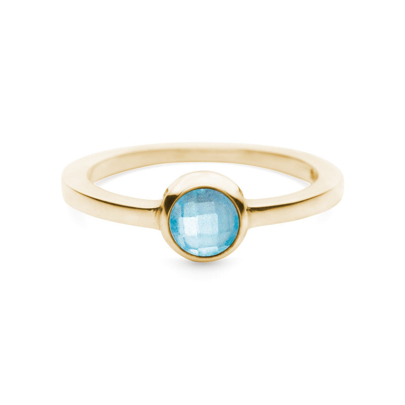 Gigi Ring in 10k Gold in Swiss Blue Topaz