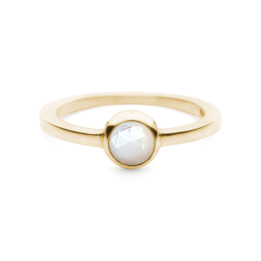 Cabochon Ring in 14k Gold in White Mother of Pearl