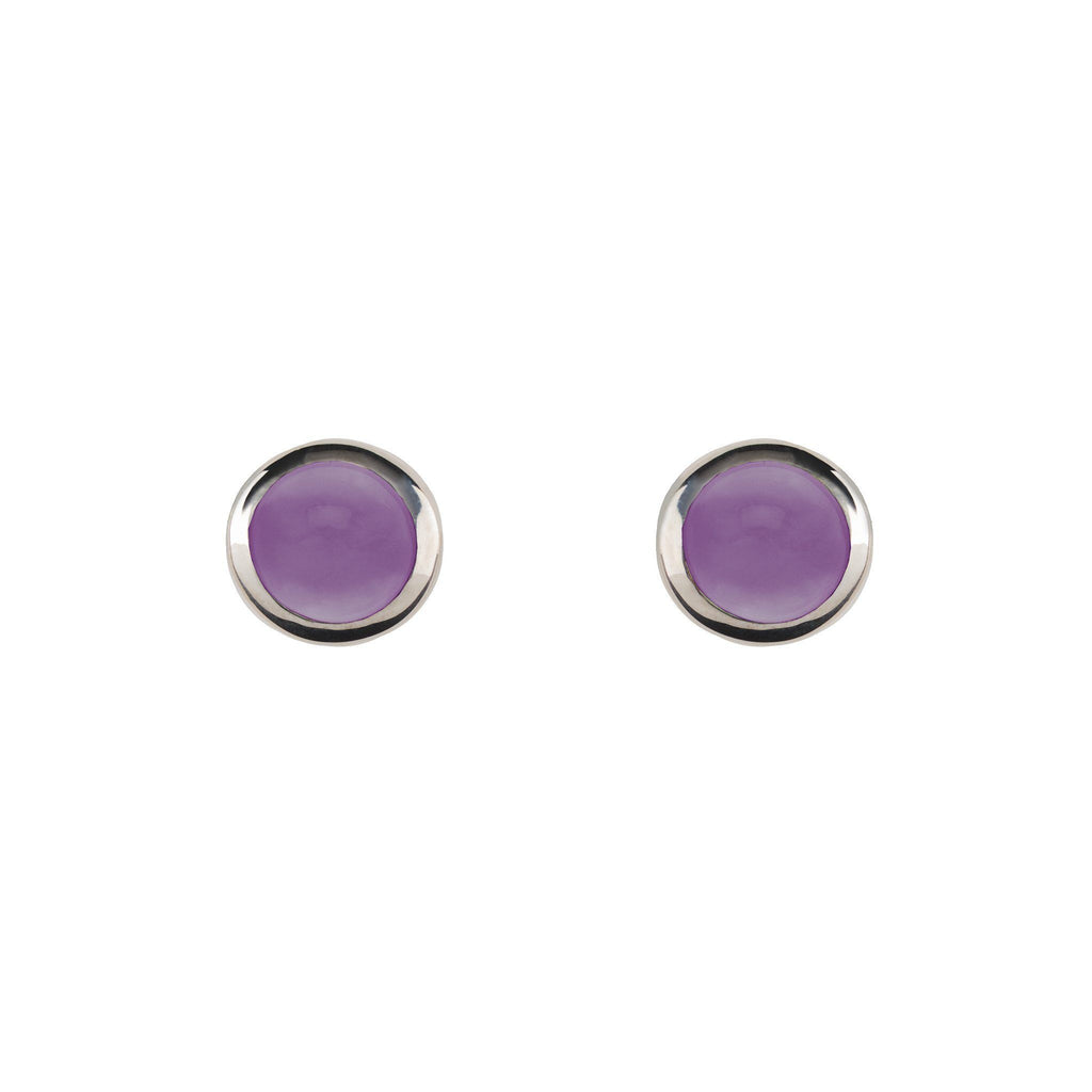 Cabochon Earrings Silver with Amethyst