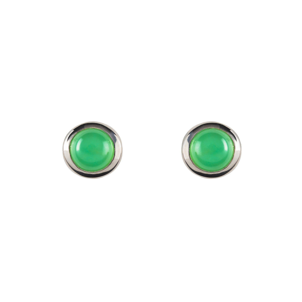 Cabochon Earrings Silver with Mint Chrysoprase