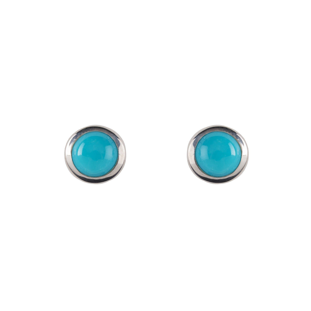 Cabochon Earrings Sterling Silver with Turquoise (December)