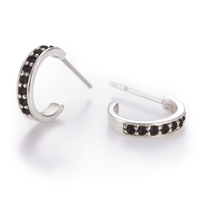 Helena Hoops Earrings with 14k Posts in Black Onyx