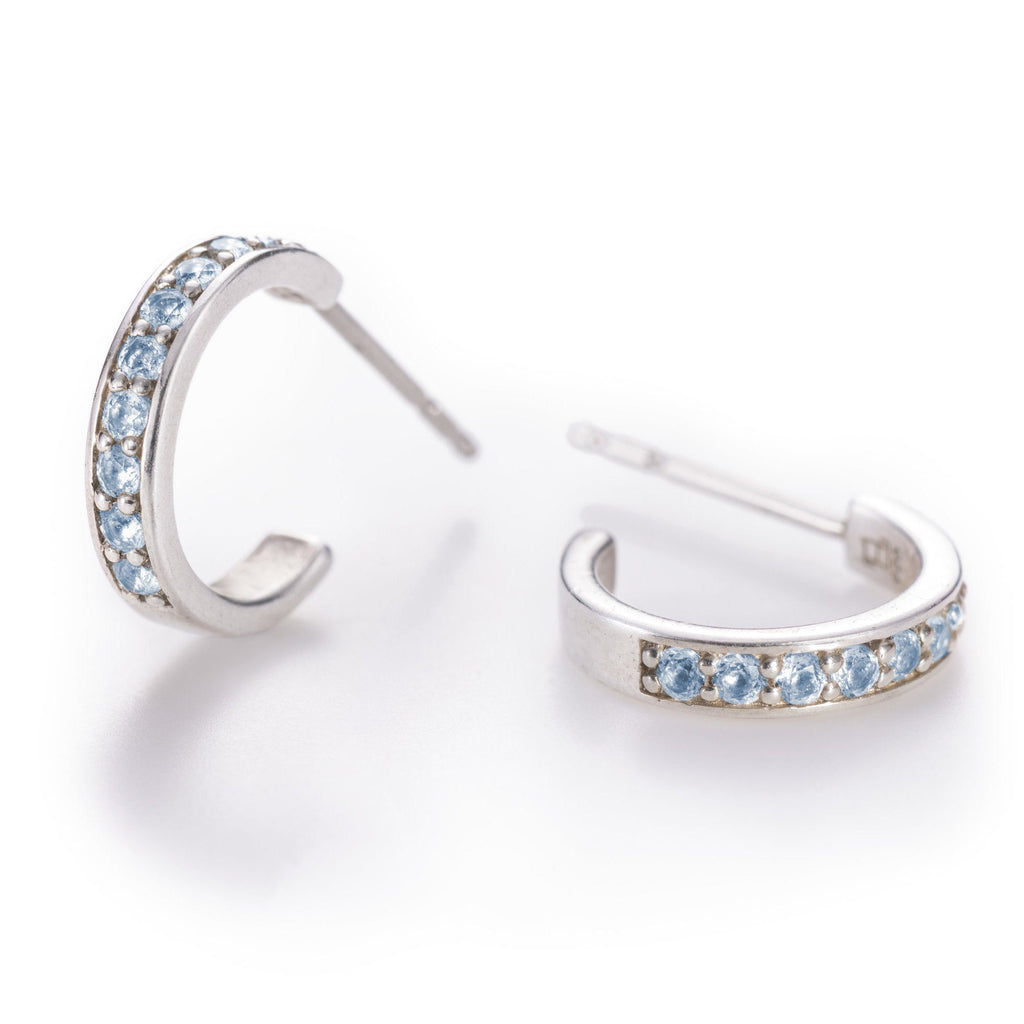 Helena Hoops Earrings with 14k Posts in Nantucket Blue Topaz