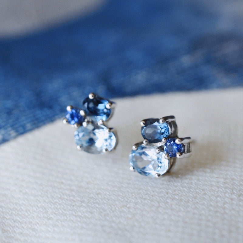 Everly Earrings in Sapphire, Nantucket Blue Topaz, London Blue Topaz