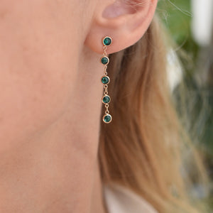 Newport Earrings 14k Gold with Emerald (May)