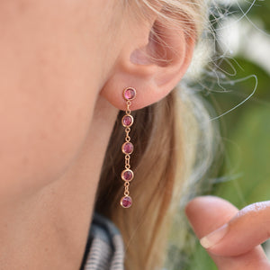Newport Earrings 14k Gold with Pink Tourmaline (October)