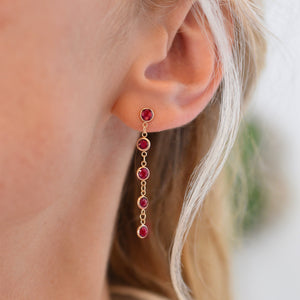 Newport Earrings 14k Gold with Ruby (July)