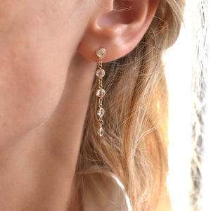 Newport Earrings 14k Gold with White Topaz (April)