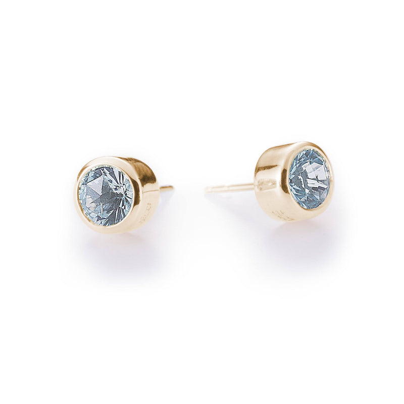 Lang Stud Earrings in 14k Yellow Gold in Sky Blue Topaz