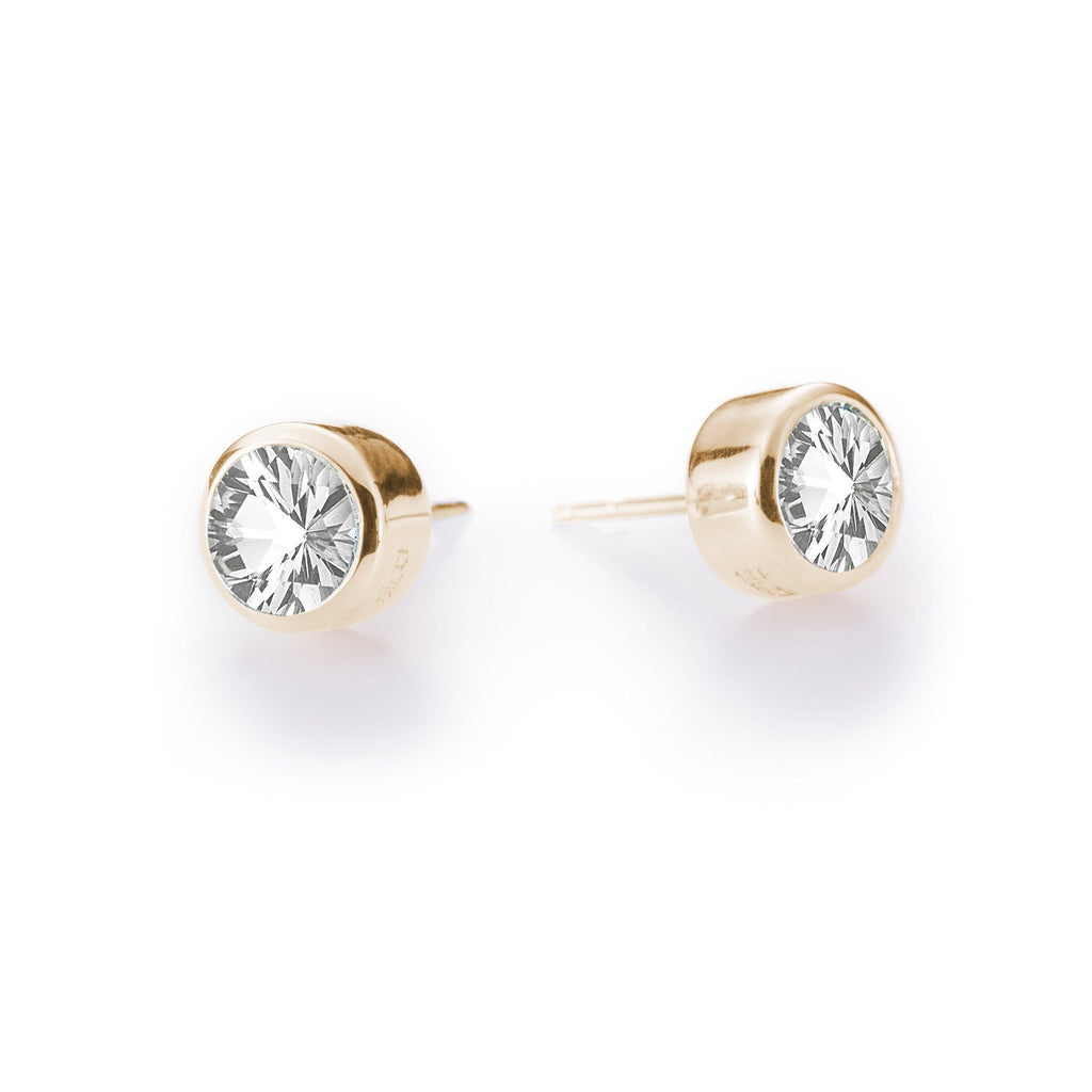 Lang Stud Earrings in 14k Yellow Gold in White Topaz