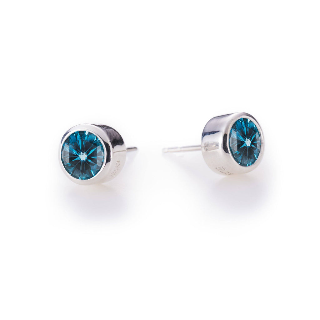 Lang Stud Earrings in London Blue Topaz