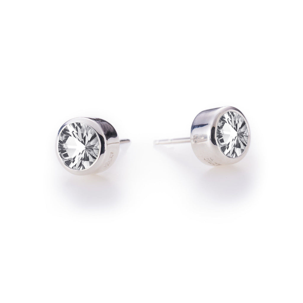 Lang Stud Earrings in White Quartz