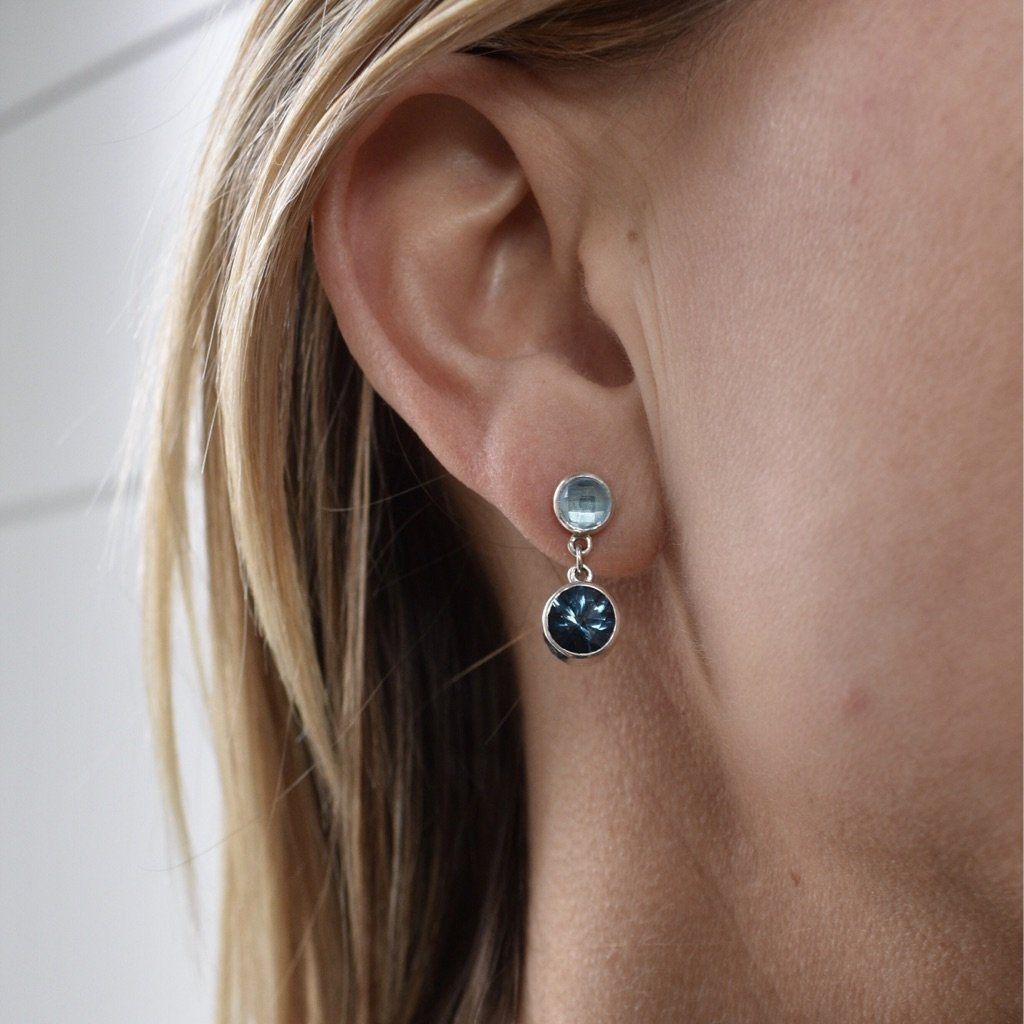 Lang Double Dot Earrings in London Blue Topaz & Swiss Blue Topaz